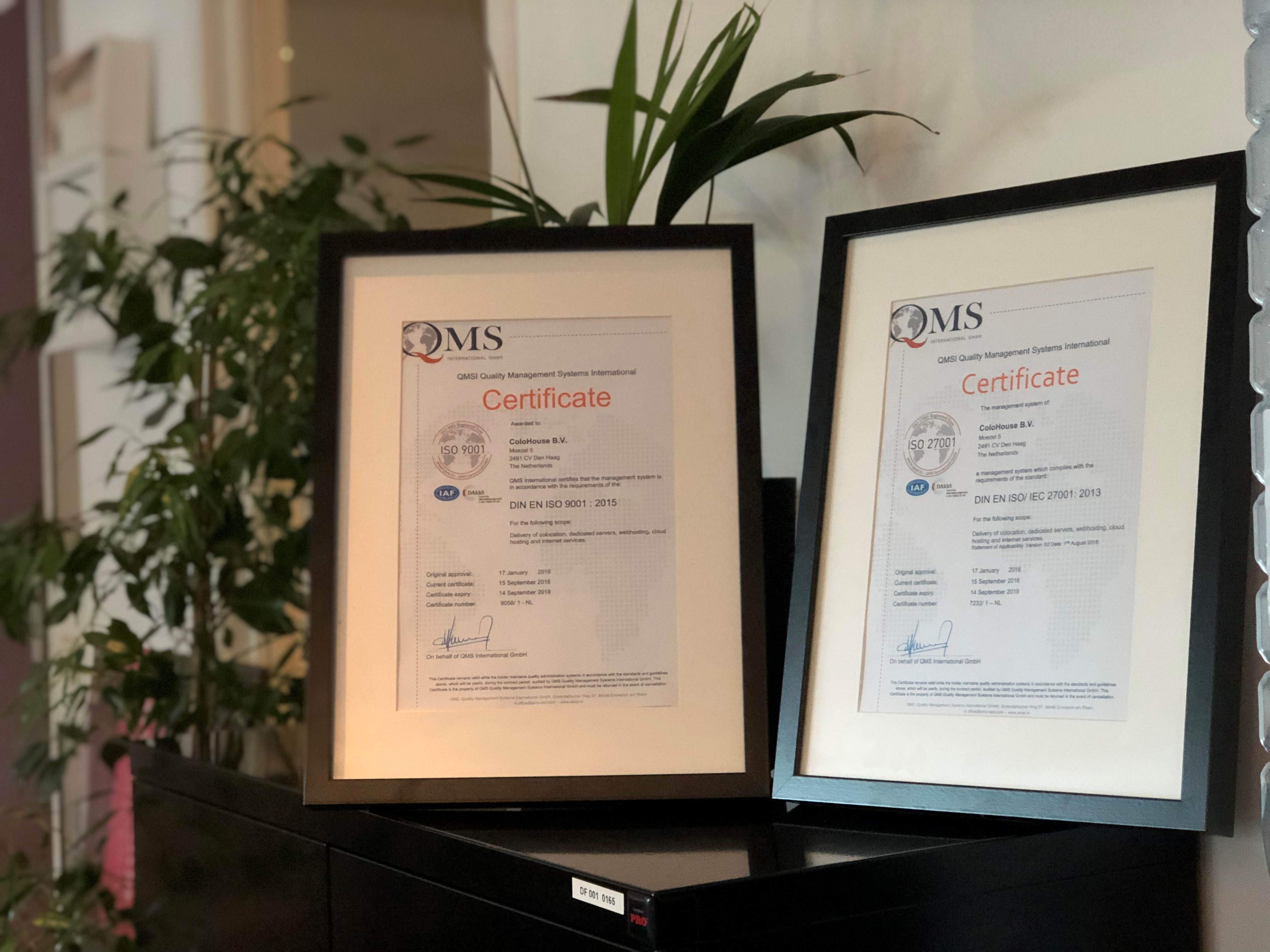 image of two ISO certificates