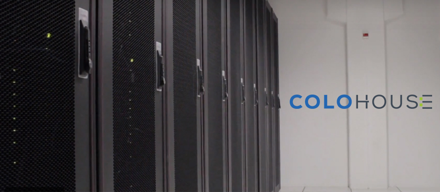 image of a row of cabinets in a data center with colohouse logo