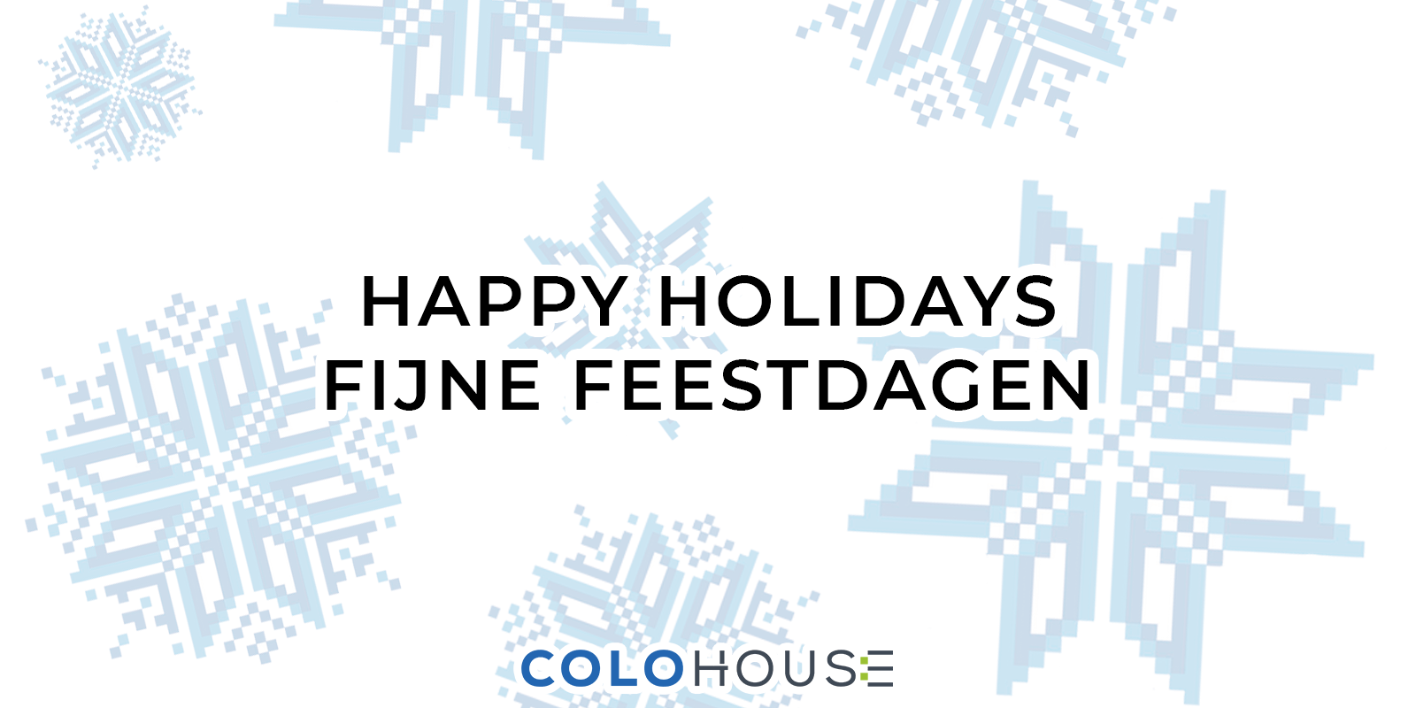 text in english and dutch on top of a snowflake pattern: happy holidays, fijne feestdagen