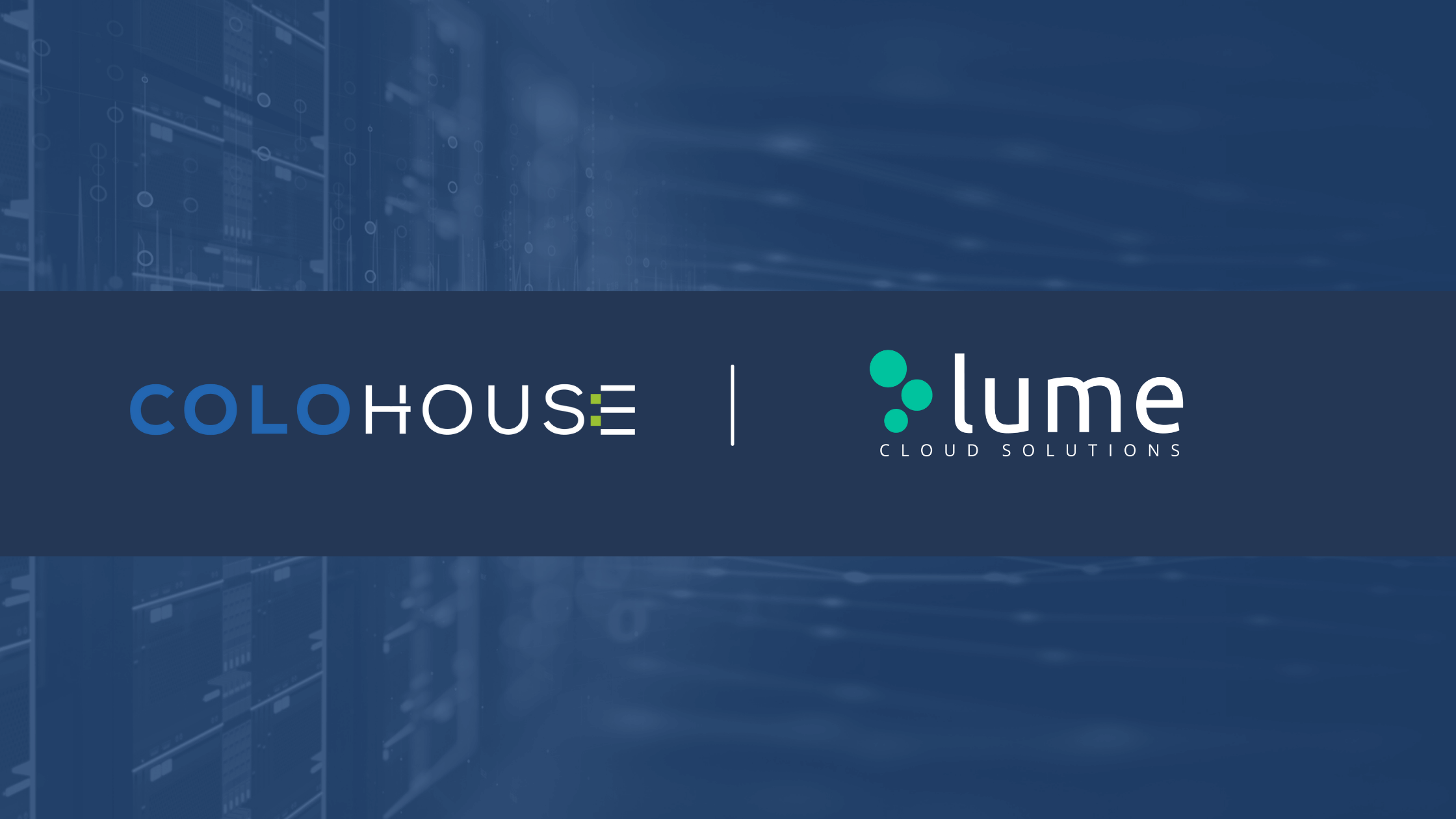 A blog banner with the colohouse logo and lume cloud logo